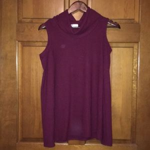 Burgundy cold shoulder cowl neck sweater tunic